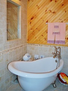 Clawfoot tub and separate shower