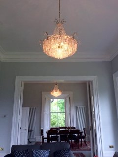 Magnificent pair of crystal chandeliers