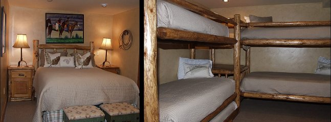 Sleeping Area with Queen Bed and 2 Twin Bunk Beds and Twin Trundle