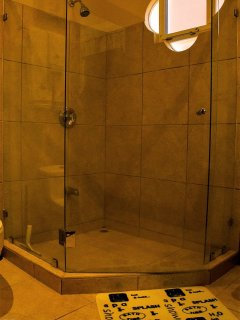 The master bath has both a bathtub and shower