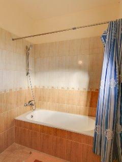 Bathroom with bath and overgead shower