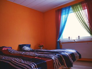 Orange room - private double beds