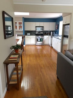Open floor plan: large kitchen, dining area and living room