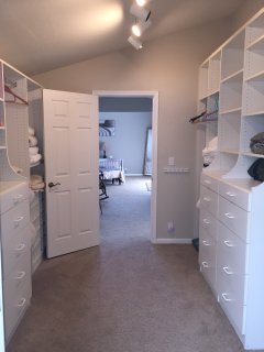 Spacious walk-in closet, stocked with beach toys, kids puzzles, games and books