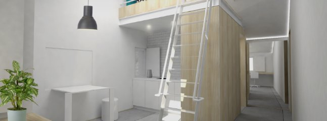 This newly built studio apartment has a mezzanine double bed, and modern kitchenette.