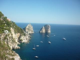 This is a view of Capri island: A one-day tour is strongly advised possibly not on week-ends!