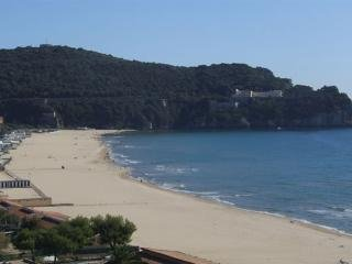 This is Serapo beach as it appears  in its natural beauty:  sand is fine  and water shallow near the