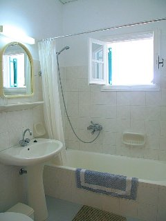 Bathroom with bath and over head shower