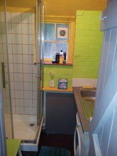 Shower Room. Basin.  washing Machine.