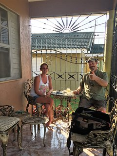Jason and his wife Selina just chilling and having a smoke during their stay...thumb up my friends