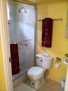 Home Sweet Getaway...back bathroom, mounted toothbrush, soap and toothpaste holders