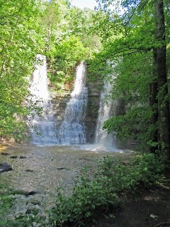 Triple Falls is one of many in the area.  Find them using trail guides in the reference library!