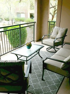 Patio overlooking the landscaped community