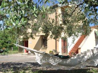 Abitazione Federico vista dall'esterno, tra ulivi, pini e lecci