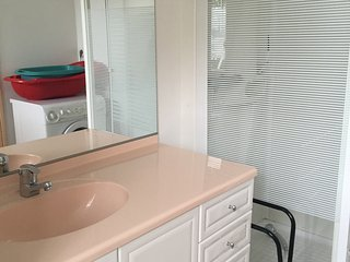 salle de bain avec douche et lave linge