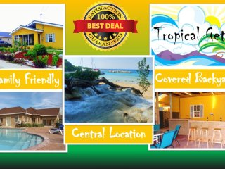 Tropical Getaway, Covered backyard, BBQ, 3BR, Sleeps 8 10ms from Ocho Rios