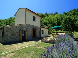 Just outside of medieval Tuscan village, beautiful 2 bedroom hillside cottage with private pool and garden