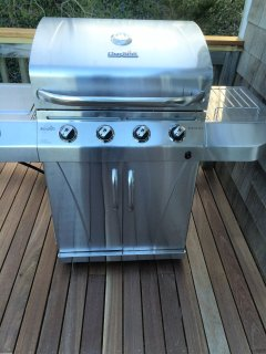 Gas grill on our new Mahogany deck. Dine out on the deck.