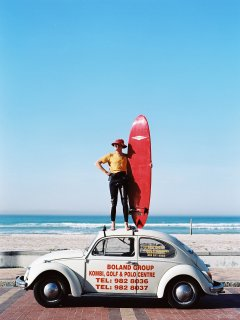 Muizenberg surfing beach, 10 min walking distance.