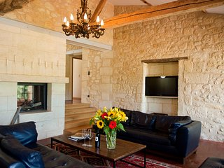family room and double-sided fireplace