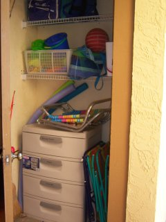 Storage with everything you could need - beach chairs, beach toys, and more.