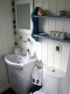 The en-suite with an electric shower
