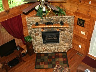 Stone faced, gas fireplace for those cold nights.
