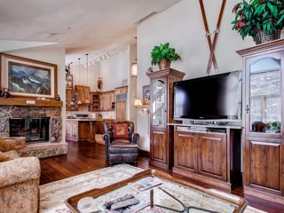 Enjoy movies on the large TV, and cozy up by the fire.