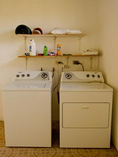 A full size washer and dryer are located in the storage room outside and area available for your use