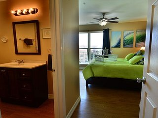 Entrance to the Master Bedroom with King Bed and view of the Gulf