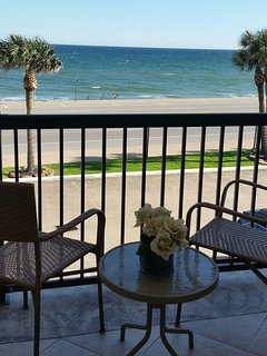 Relax on the 24 foot balcony and watch the pelicans as they fly over the Gulf