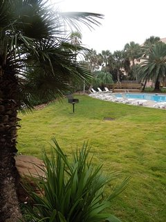 View of the grounds and the east pool - heated in the winter for your enjoyment