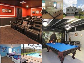 8br/5bath home w/pool, theater, game rm near Disney