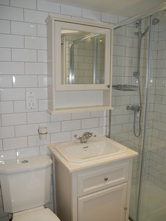 The bathroom has been completely refurbished recently