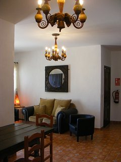 Casa Rosa Lounge Viewed from Dining Area.  Door to Bedroom 2 with Twin Beds.