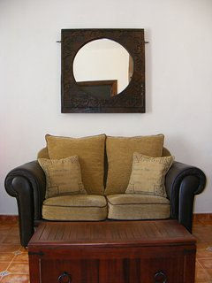Morroccon Style Mirror & Sofa in Casa Rosa Lounge viewed from Master Bedroom.