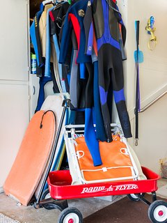 Wetsuits and boogie boards for you to use!