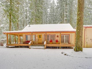 Charming dog-friendly cabin w/private hot tub, deck & bikes! Walk to the river!