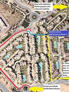 Red route shows location car park. Yellow route shows location of apartment & walkway to golf course