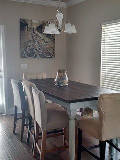 Dining table with bench fits 8