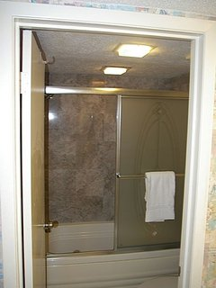 Master bathroom with glass shower doors.