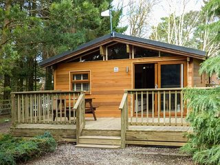 PINE LODGE, all ground floor, en-suite, enclosed decked area, pet-friendly