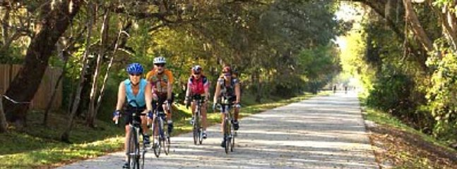 Use our bikes (free) to explore quiet streets, waters edge or 40 miles on Pinellas Trail nearby