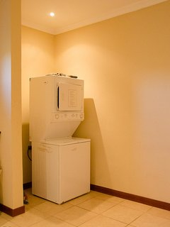 The washer and dryer are located in the garage and available for your use during your stay!
