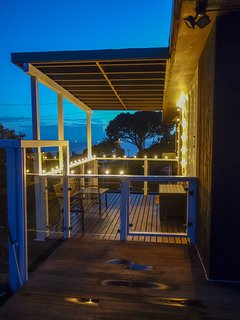 Back patio at night