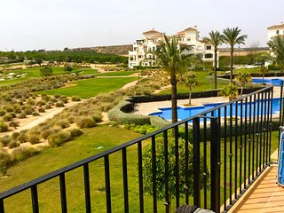 Pool View from the terrace which also looks straight out to the golf course