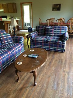 Living room, dining room.
