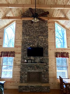 Authentic Mountain Stone Fireplace