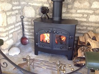 The sitting room's great wood burning stove.