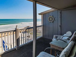 Great view of the beach and ocean from the third floor.  This is the view you and your family will enjoy, this isn't a model unit.